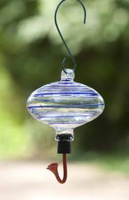 Blue Swirl Oval Hummingbird Feeder