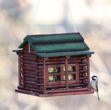 Wood Log Cabin Birdfeeder