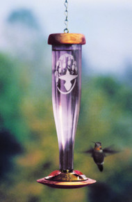 Amethyst Etched Hummingbird Lantern