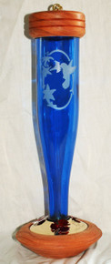 Cobalt Blue Etched Hbird Lantern