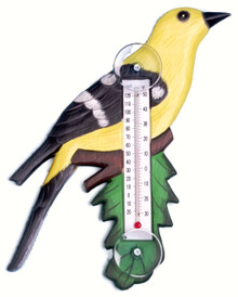 Goldfinch on Branch Small Window Thermometer
