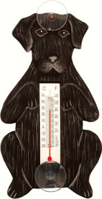 Begging Black Lab Small Window Thermometer
