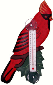 Cardinal on Branch Large Window Thermometer
