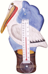 White Pelican on Pier Large Window Thermometer