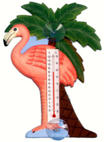 Flamingo & Palm Tree Large Window Thermometer
