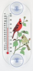 Cardinal Pair Window Thermometer