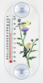 Goldfinch Pair Window Thermometer