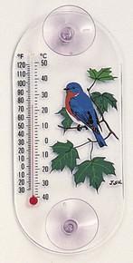 Bluebird Maple Window Thermometer