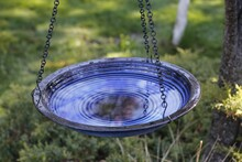 Circle Birdbath Hanging Blue