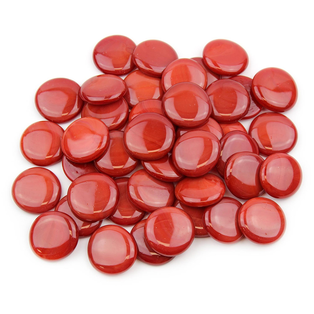 Large Red Opaque Glass Gems