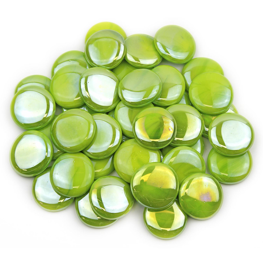 Large Lime Green Opaque Luster Glass Gems