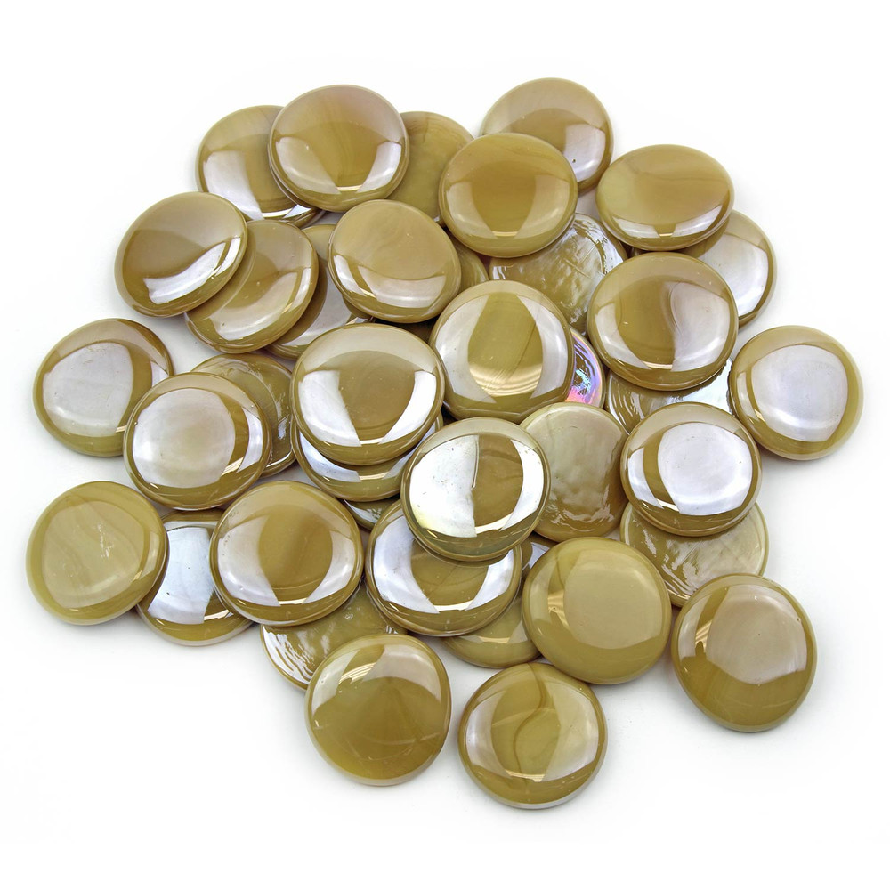 Large Latte Opaque Luster Glass Gems