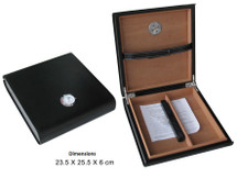 Small Leather Humidor - Black