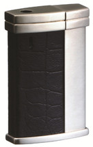 Sarome SK108 Electronic Lighter - Black Leather Crocodile Embossing