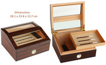 Glass Top Desktop Humidor - Brown