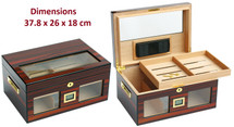 Glass Top  High Gloss Humidor - Dual Brown