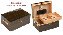 High Gloss Desktop Humidor - Brown