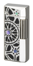 Sarome SD41 Flint Lighter - Silver Black Epoxy Wheel design