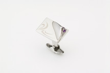 Sarome Purple with Crystal glass cufflinks