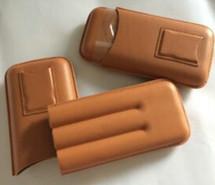 Three Cigar Holder + Cutter - Light Brown