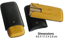 Three Cigar Leather Cigar Holder - Cohiba Colours