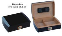 Black Desktop Humidor + Digital Hygrometer
