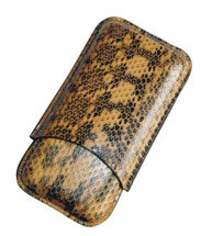 Snake Leather Three Cigar Case