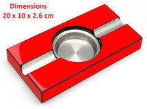 Two Cigar Wood Ashtray - Red