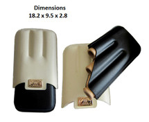 Black & White Three Cigar Leather Holder