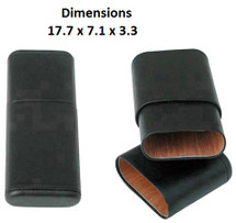 Three Cigar Black PU Leather Holder