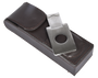 Two cigar brown leather holder with cutter