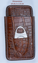 Three Cigar Crocodile Leather Holder + Cutter