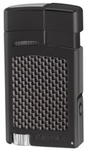 Xikar Forte Single Jet Lighter + Punch - Carbon Fibre Black
