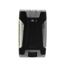 Colibri Rebel Double Jet Lighter - Brushed Chrome &  Black