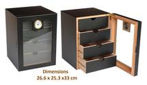 Four Draw Cigar Cabinet - Black