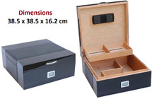 The Majestic Desktop Humidor + Leather Surface -  Black