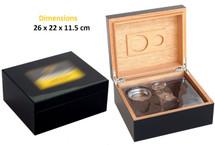 Desktop Gift Set Humidor - Black Cohiba Design