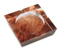 Crystal Ashtray - Tobacco Leaf Print