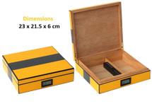 Small High Gloss Humidor-Yellow & Carbon Fibre