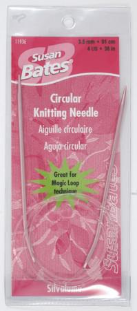 "Susan Bates Silvalume 36"" Circular Knitting Needle (Size US 4 - 3.5 mm)"