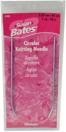 "Susan Bates Silvalume 24"" Circular Knitting Needle (Size US 1 - 2.25 mm)"