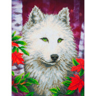 "Diamond Dotz White Wolf 23"" x 19"" Embroidery Facet Art Kit"