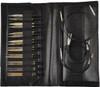 "LYKKE Driftwood 3.5"" Interchangeable Circular Knitting Needles Set (9 Pairs) - Black Faux Leather"