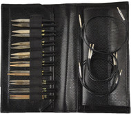 "LYKKE Driftwood 3.5"" Interchangeable Circular Knitting Needles Set (9 Pairs) - Black Faux Leather"