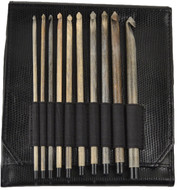 "LYKKE Driftwood 10-Pack 6"" Crochet Hook Set - Black Faux Leather"