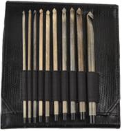"LYKKE Driftwood 10-Pack 6"" Crochet Hook Set - Black Faux Leather"