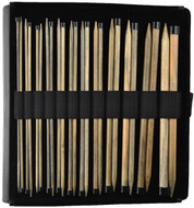 "LYKKE Driftwood 10"" Straight Single Pointed Knitting Needles Set (12 Pairs) - Black Faux Leather"