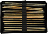 "Driftwood 14"" Straight Single Pointed Knitting Needles Set (12 Pairs) - Black Faux Leather by LYKKE"