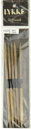 "LYKKE Driftwood 2-Pack 6"" Double Pointed Knitting Needle (Size US 8 - 5 mm)"