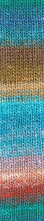 Noro #459 Aqua, Brown, Red Silk Garden Sock Yarn (1 - Super Fine)
